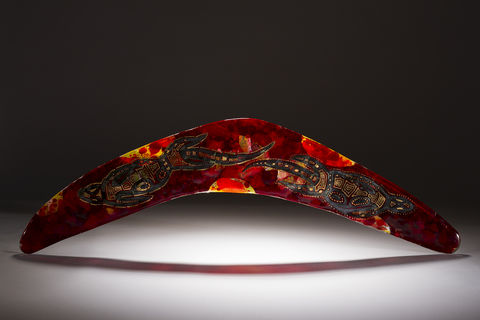 Aboriginal,Art,Glass,Boomerang,03, art glass, giftware, aboriginal art, Peter Farmer, Western Australian Art