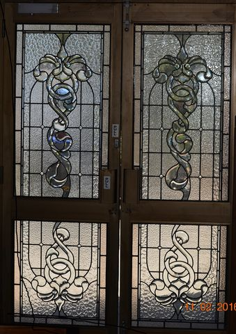 1,x,Custom,Front,Entry,Bevelled,Leadlight,Door,Panels,second hand leadlight stained glass front entry