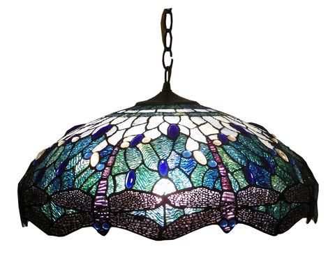 BLUE,DRAGONFLY,HANGING,LAMP,pendant lamp shade; stained glass lamp shades;tiffany
