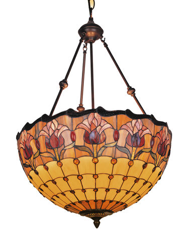 RED,TULIP,PENDANT,pendant lamp shade; stained glass lamp shades;tiffany