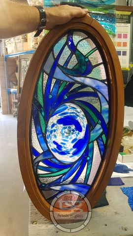 Oceanic,Swirl,stained glass window