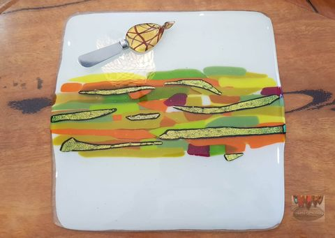Fused,Art,Glass,Cheese,Platter,cheese platter, fused glass,