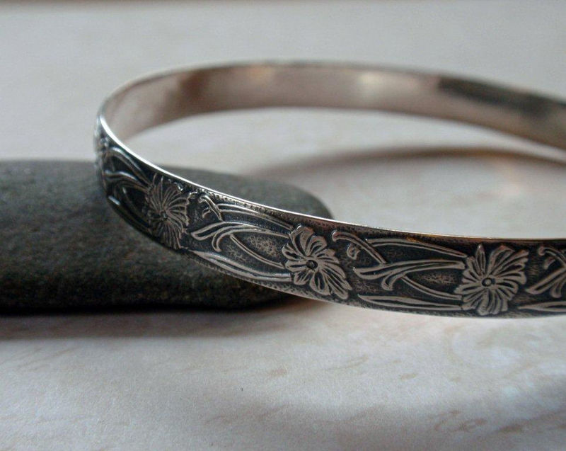 Art Nouveau Floral Bangle Oxidized Sterling Silver Bracelet - product image