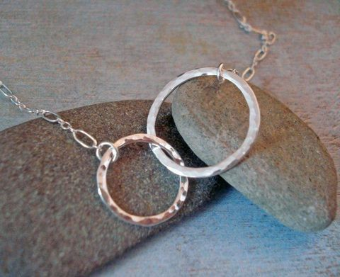 Sterling,Silver,Double,Eternity,Hoop,Necklace,-,Entwined,Circles,Jewelry,Metalwork,pendant,metal,sterling_silver,double_hoops,hammered,forged,joined,sylviaanderson,eternity,circle,hoop,sterling_silver_wire,chain_and_findings