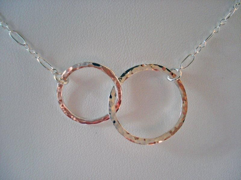 Sterling Silver Double Eternity Hoop Necklace - Entwined Circles - product image