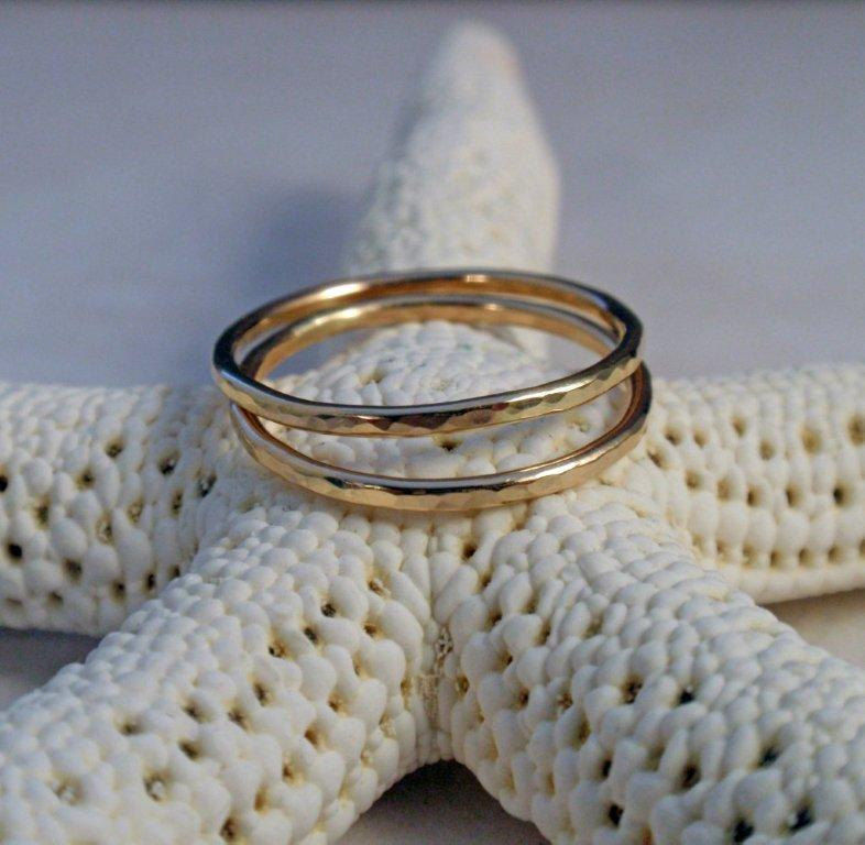 14K Gold Ring Band Set Hammered Set of Two Gold Stacking Ring Bands - product image