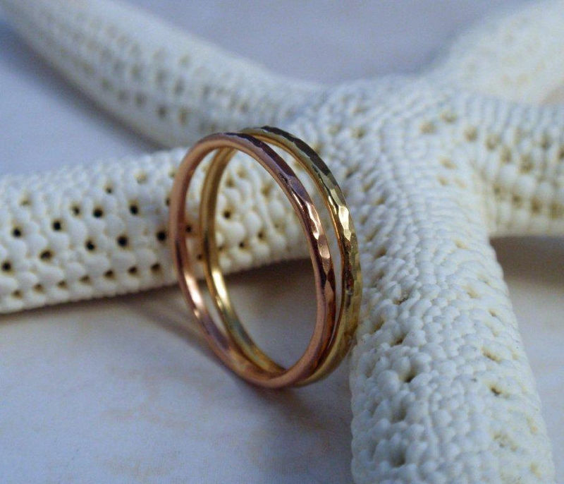 Rose Gold and 18K Gold Ring Band Set of Two - product image