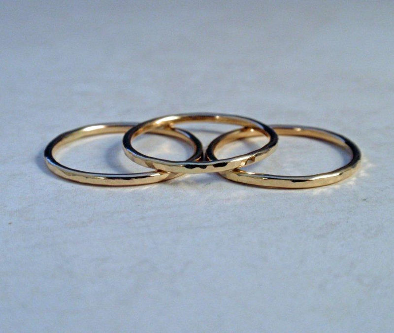 Gold Stacking Ring Set Stunning 14K Gold Hammered Rings - product image