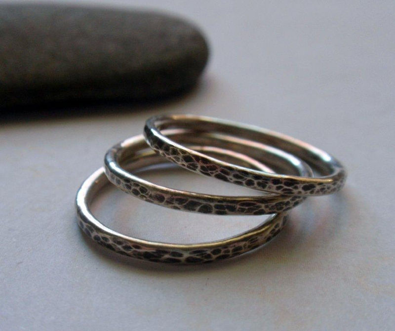 Silver Stacking Ring Oxidized and Hammered Sterling Silver Band - product image