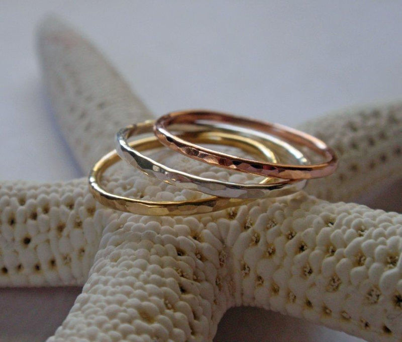 Gold Stacking Ring Set Stunning 18K Yellow 14K Rose and Sterling Silver Hammered Skinny Rings - product image