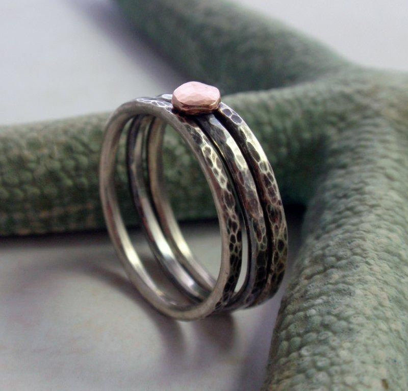 14K Rose Gold and Oxidized Sterling Silver Hammered Stacking Ring Band Set of Three - product image