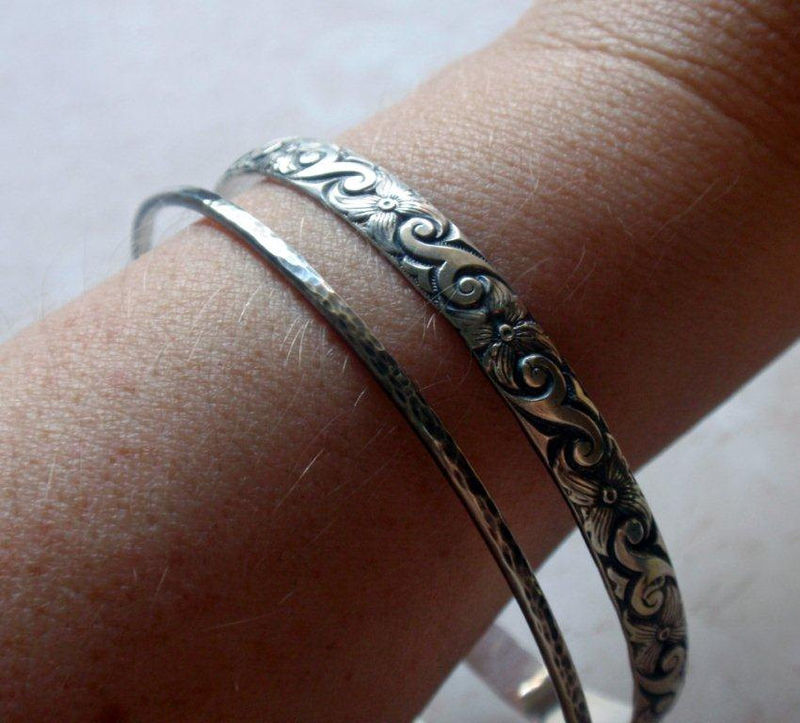 Silver Floral Bangle Oxidized Sterling Silver in Modern Floral Pattern - product image