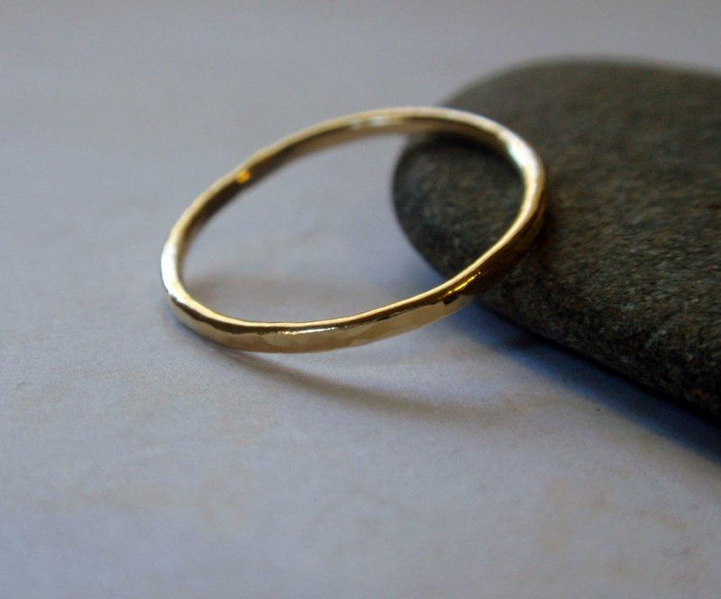 18K Gold Ring Band Hammered Skinny Stacking Ring in Stunning Gold - product image