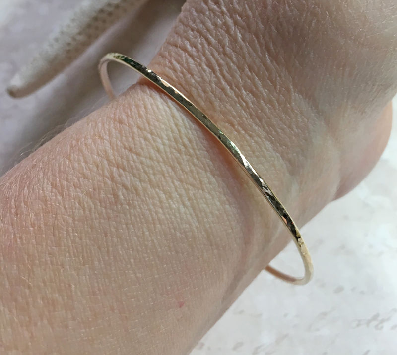14K Solid Yellow Gold Stacking Bangle Bracelet - product image