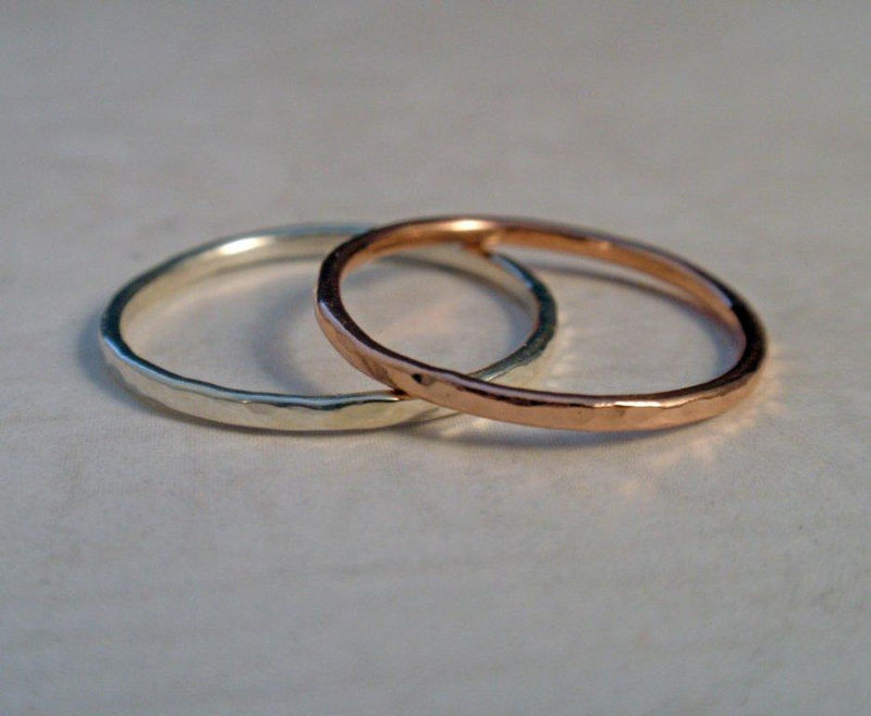 14K Rose Gold Ring Band Set with Sterling Silver Hammered Ring Band - product image