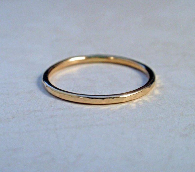 14K Gold Ring Band Hammered Stacking Ring - product image