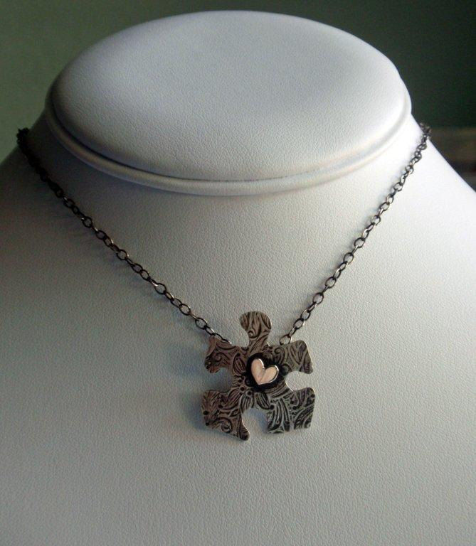 Autism Aspergers Puzzle Necklace Autism Spectrum Awareness in Sterling Silver - product image