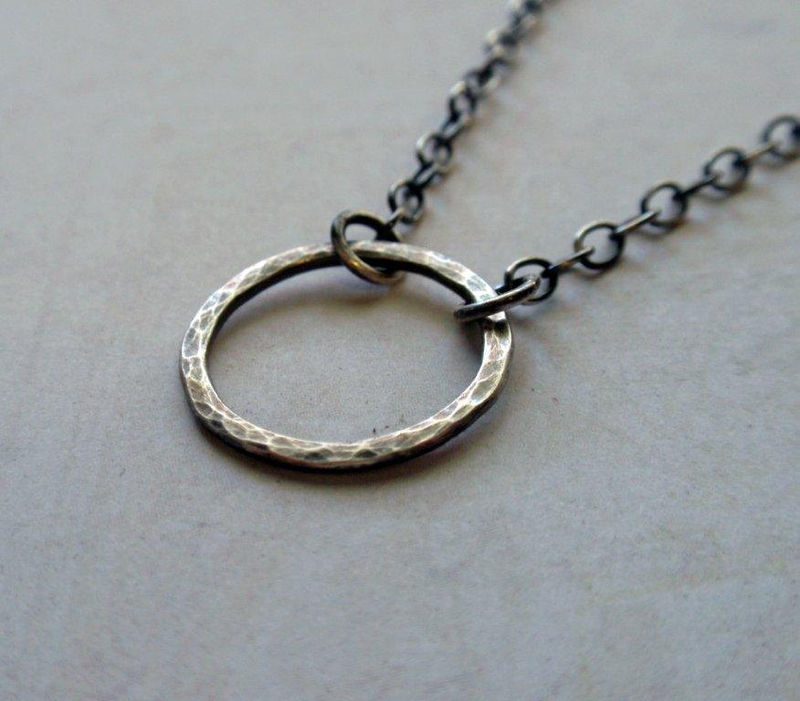 Small Oxidized Sterling Silver Eternity Circle Necklace Sweet Hammered Hoop - product image