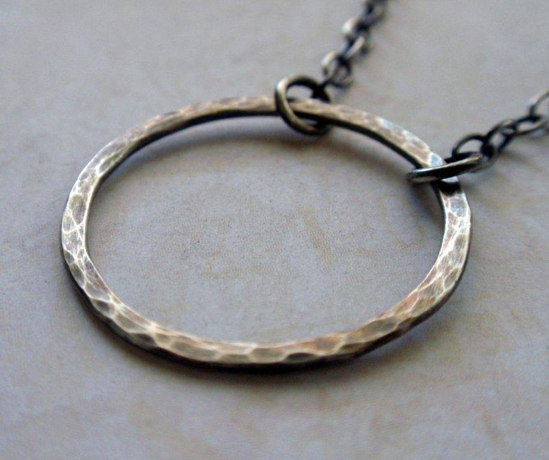 Oxidized Silver Eternity Circle Necklace Large Hammered Hoop in Sweet Sterling Silver - product image