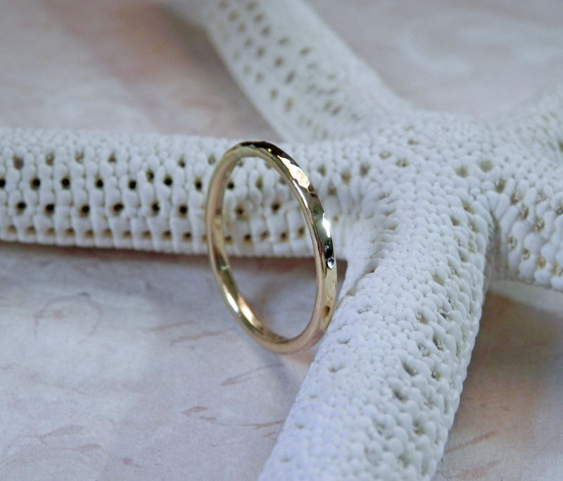 18K Gold Wedding Band Stacking Gold Ring - product image