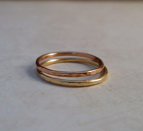 14K,Gold,Wedding,Ring,Band,Set,of,Two,Rose,Pink,Yellow,Stacking,Rings,Jewelry,wedding_band,wedding_ring,wedding_set,14K_gold_set,14K_gold_ring,14K_gold_band,gold_stacking_ring,skinny_stacking_ring,hammered_gold_band,thin_gold_ring,gold_ring_band,14K_rose_gold,14K_pink_gold,14K gold