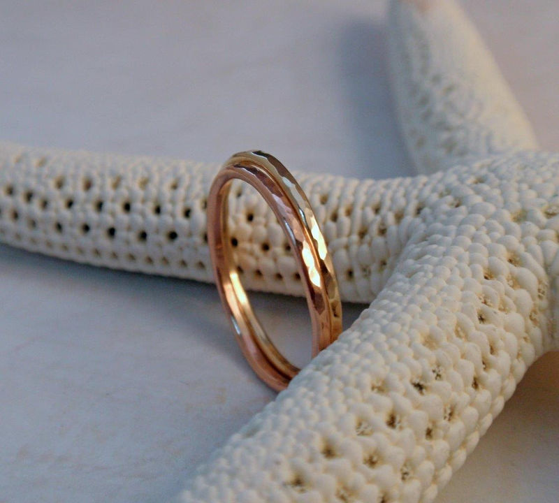 14K Gold Wedding Ring Band Set of Two Rose Pink Yellow Gold Stacking Rings - product image