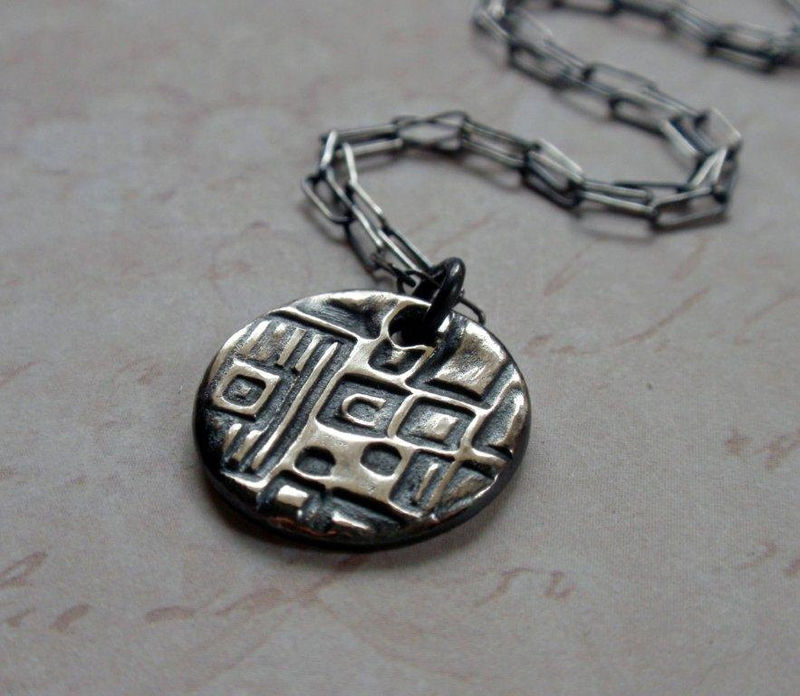 Geometric Pattern Silver Necklace Oxidized Architecture Design Squares and Cubes - product image