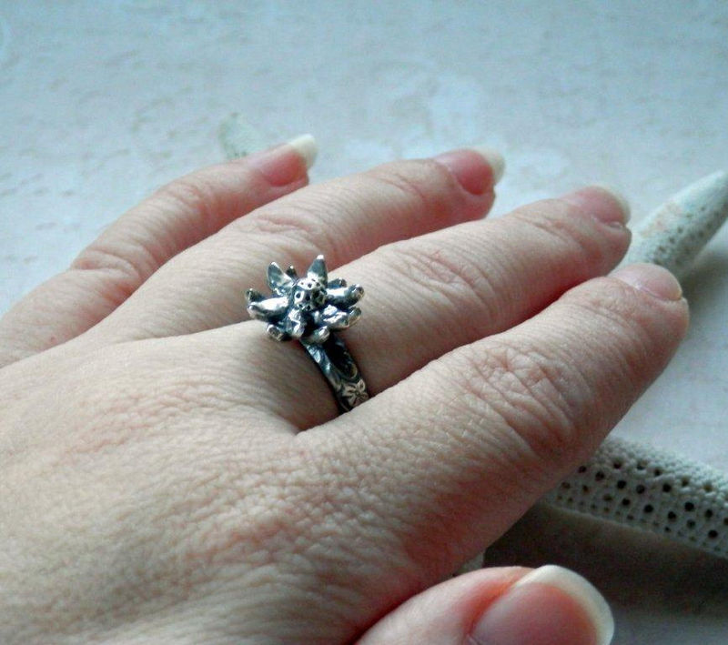 Silver Flower Ring Oxidized Floral Ring in Sterling and Fine Silver - product image