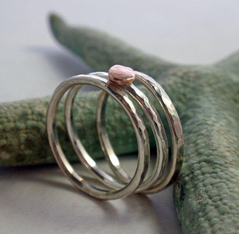 14K,Rose,Gold,and,Sterling,Silver,Hammered,Stacking,Ring,Band,Set,of,Three,Jewelry,14K_rose_gold,rose_gold_ring_band,rose_gold_band,rose_gold_ring,stacking_ring_set,gold_stacking_ring,14K_pink_gold,pink_gold_ring,silver_stacking_ring,sterling_silver_ring,gold_and_silver_ring,sterling_silver_band,organic_ring_set,14K rose Go