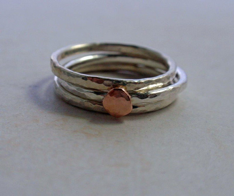 14K Rose Gold and Sterling Silver Hammered Stacking Ring Band Set of Three - product image