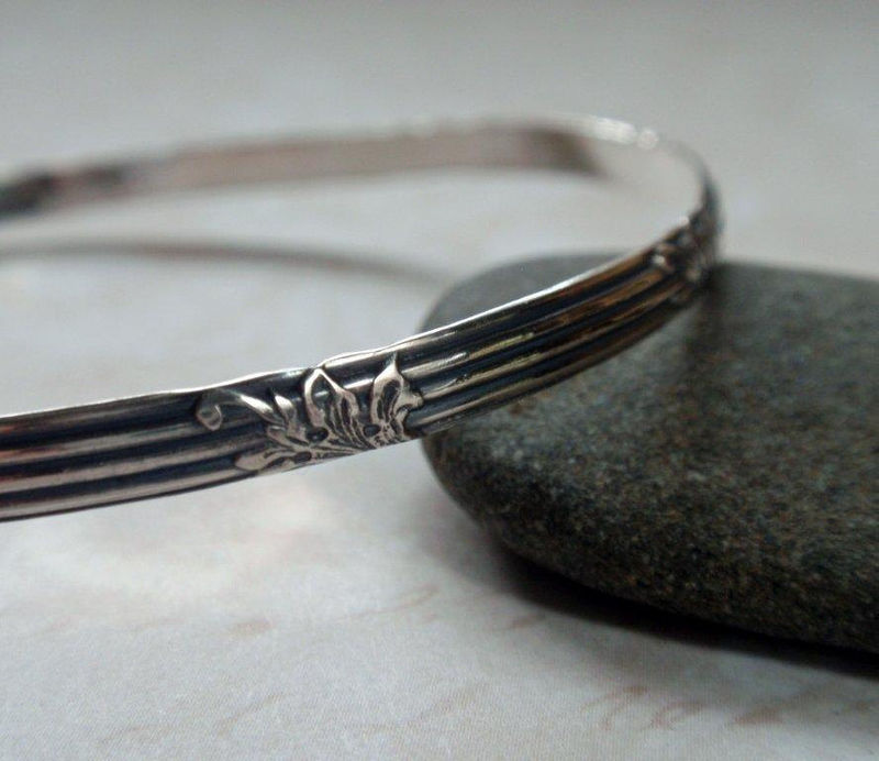 Floral Pattern Silver Bangle Oxidized Art Deco Floral and Lined Vintage Patterned Sterling Silver Bracelet - product image