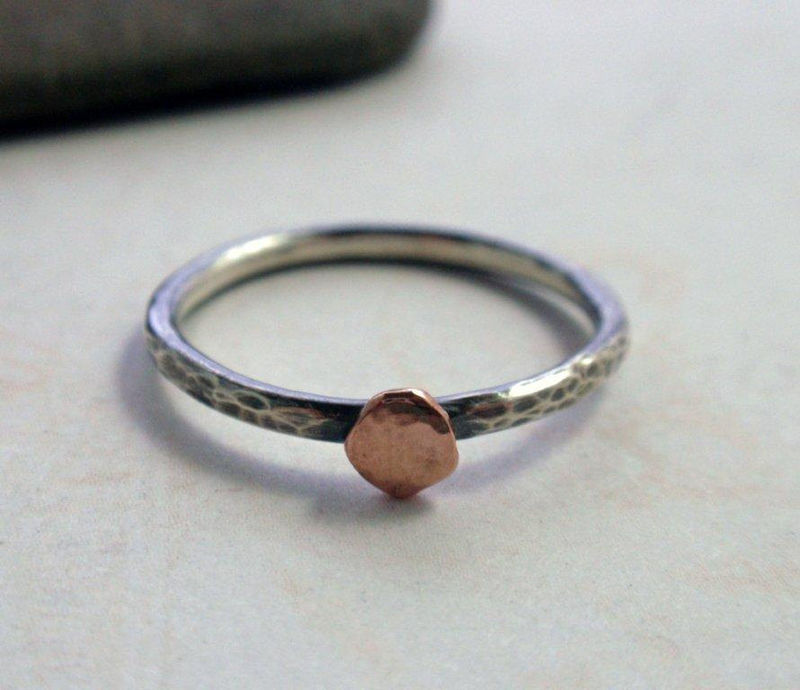 14K Rose Gold and Oxidized Sterling Silver Ring Band Hammered Stacking Ring - product image