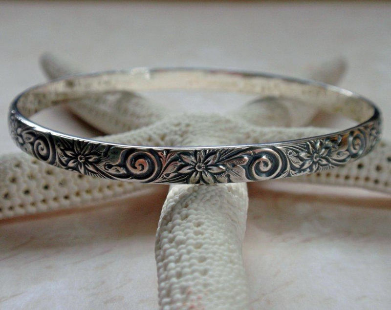 Floral Pattern Bangle Oxidized Sterling Silver Swirls and Flowers - product image