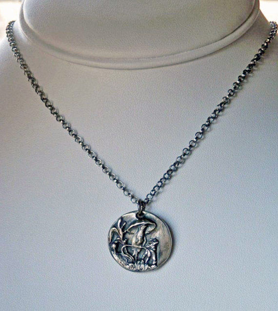Silver Bird Necklace Victorian Bird with Umbrella Button Charm Pendant in Oxidized Fine Silver - product image