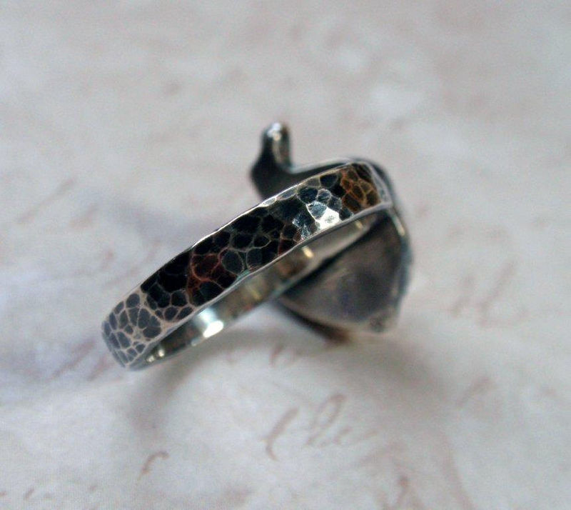 Silver Acorn Ring Oxidized Sterling Silver Nature Ring - product image