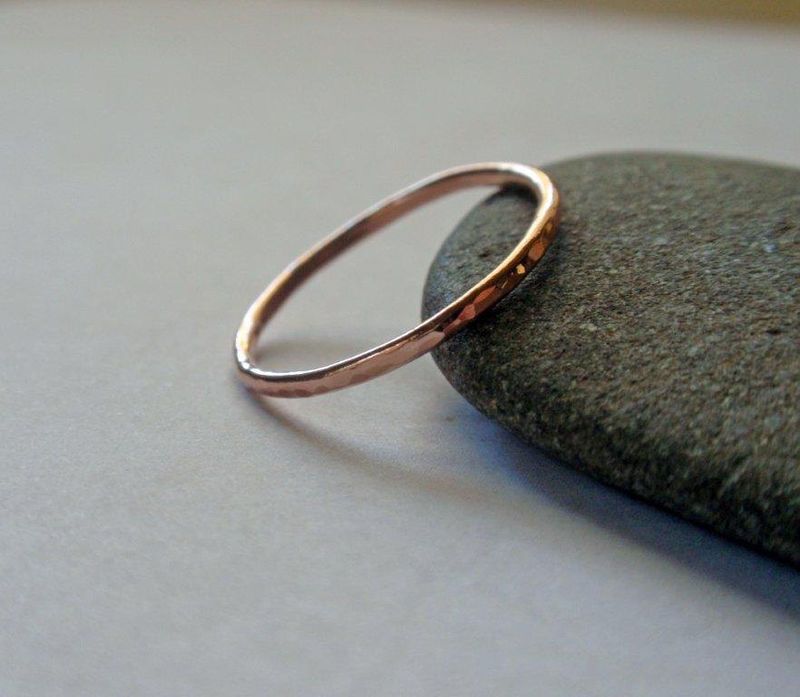 14K Rose Gold Ring Band Hammered Stacking Ring - product image