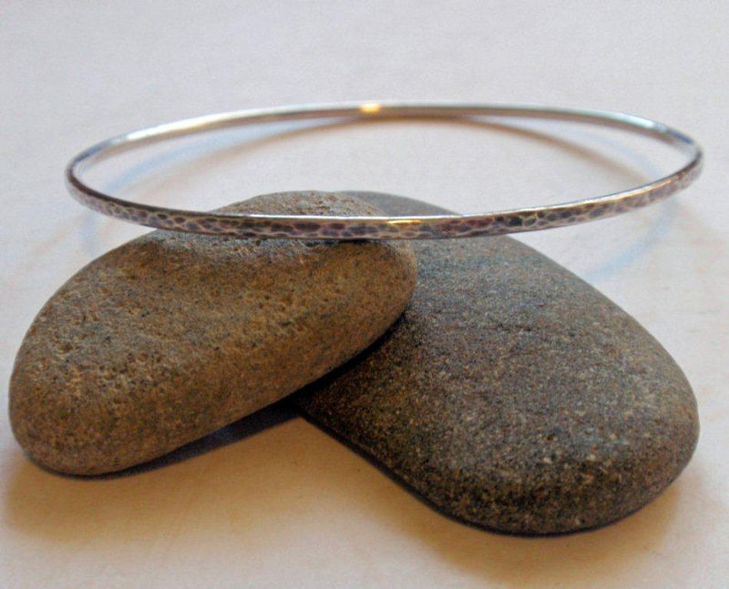 Silver Bangle Oxidized Simply Stunning in Hammered Sterling - product image