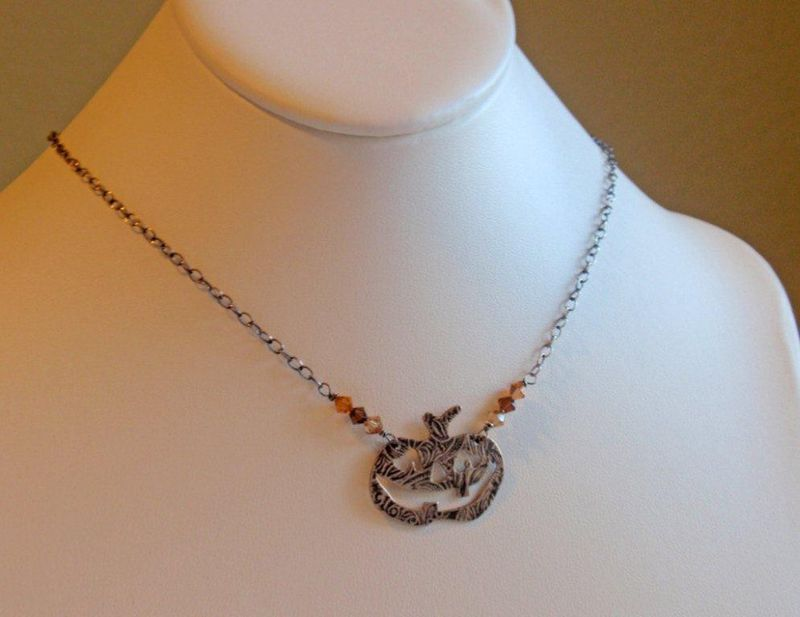 Smiling Jack O' Lantern Pumpkin Fall Necklace in Oxidized Sterling Silver - product image