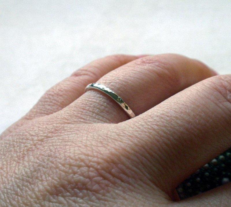 Silver Stacking Ring Band Hammered Sterling Silver Simply Shiny - product image