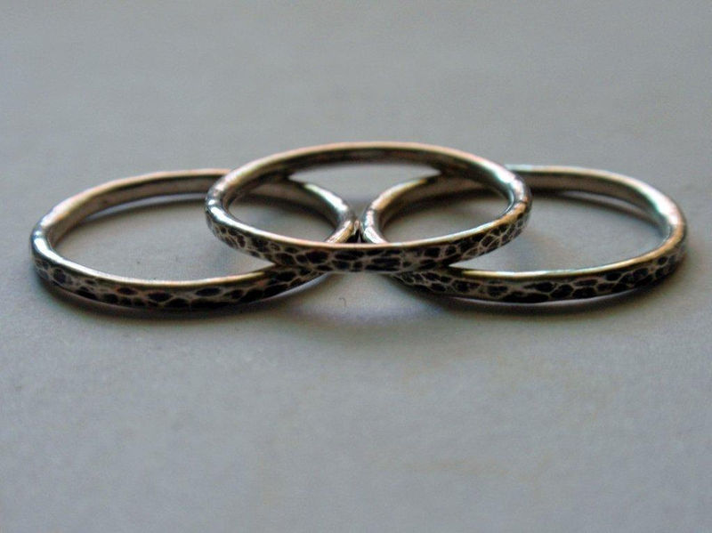 Silver Stacking Ring Set Oxidized and Hammered Sterling Silver Set of Three - product image