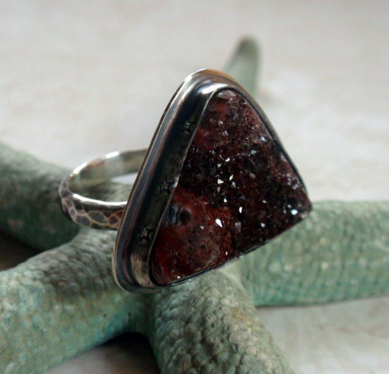Druzy Ring in Oxidized Sterling Silver - product image