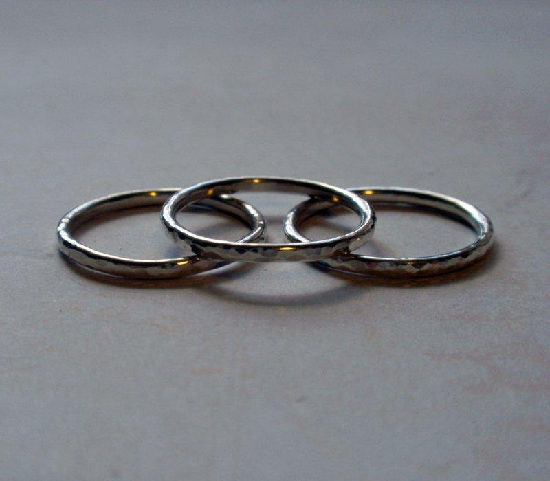Silver Stacking Ring Set Hammered Sterling Silver Simply Shiny Set of Three - product image