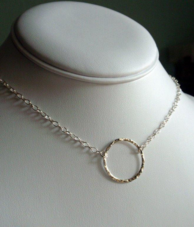 Silver Eternity Circle Hoop Necklace Sweet Hammered Sterling in a Large size - product image