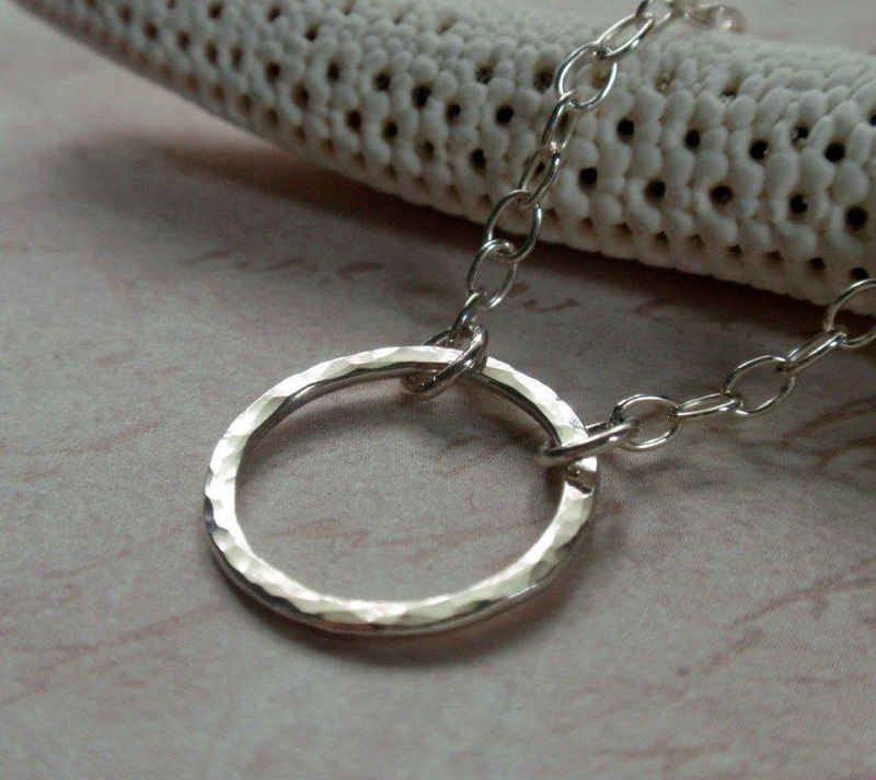 Small Sterling Silver Eternity Circle Necklace Sweet Hammered Hoop - product image