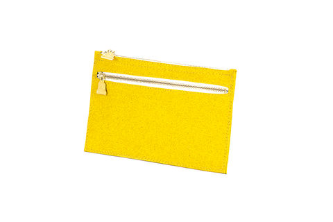 Yellow,Primrose,Zipper,Clutch, Cork, zips, Vegan