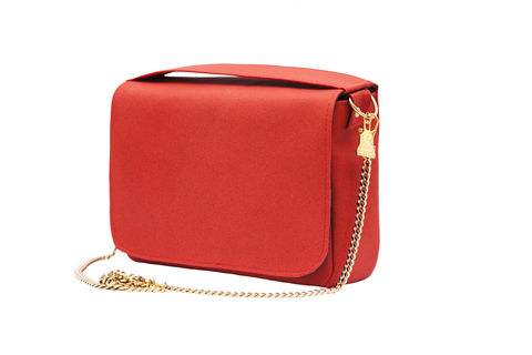 Red,Citibag, Cork leather, clutch, Vegan