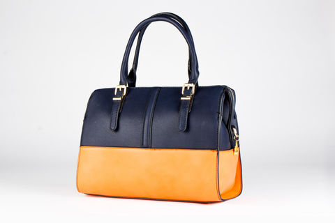 Navy,Orange,Tone-Time,Handbag,Vegan, PU, Two tone