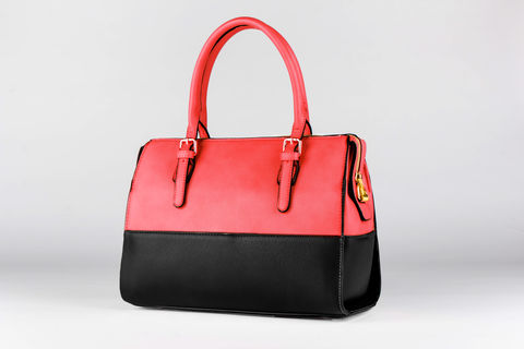 Red,Black,Tone-Time,Handbag,Vegan, PU, Two tone