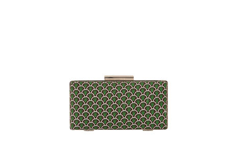 Green,Clam,Clutch,Mosaic, Clutch, Vegan, sustainable, prints, UK Made,