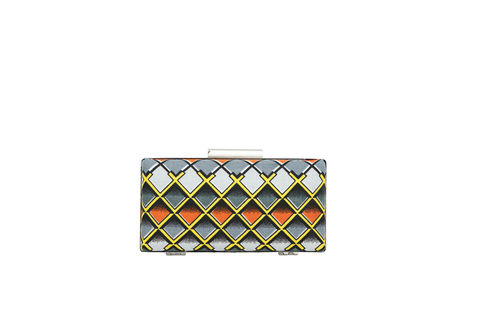 Grey,Diamond,Clutch,Mosaic, Clutch, Vegan, sustainable, prints, UK Made,